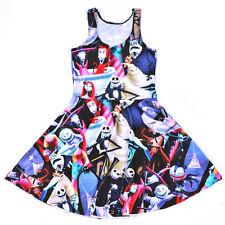 Women The Nightmare Before Christmas Jack Skellington Sun Pleated Skirts Dresses