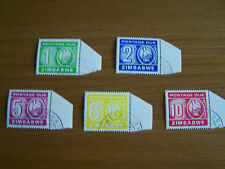 ZIMBABWE,FIRST POSTAGE DUE SET ,FULL SET OF 5 VALS,F/USED.EXCELLENT.