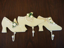 Decorative Victorian Shoe Rack Clothes/Scarf/Belt Hanger Hooks Ivory With Roses