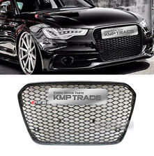 RS6 Style Black Frame Grille Logo Ring Chrome Emblem for AUDI 2011-2017 A6 / C7