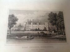 Antique Print of Eton College  From The Thames circa 1845 - Frame It !