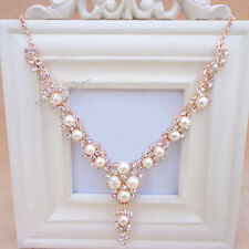 Charm Women Jewelry Pendant Pearl Crystal Statement Choker Chunky Bib Necklace