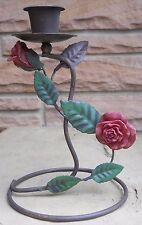 Red Resin Rose Metal Candle Holder