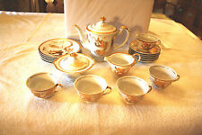 RARE 22K GOLD DRAGON DESIGN ORIENTAL FINE CHINA TEA/COFFEE SET