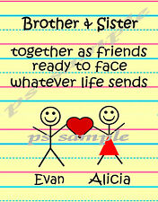 BROTHER AND SISTER - Fridge Magnet - Personalized Free