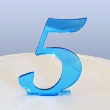 Numero 5 Sceneggiatura Blu Specchio Acrilico Decorazione Torta Circa 6cm-4cm