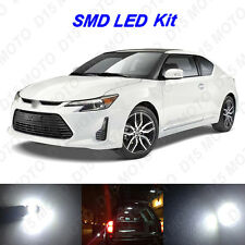 7 x White LED Interior Bulbs + License Plate Lights for 2005-2015 2016 Scion tC