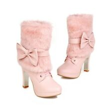 Womens Fur detachable Winter High Heel Lace Up Riding Bowknot Ankle Boots Shoes