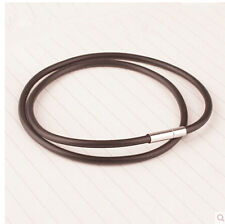 "coffee 2mm 10"" Stainless Steel Clasp Thin Genuine Leather Cord Chain Necklace"