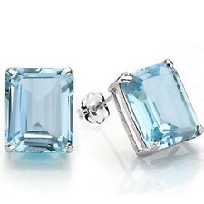 Stud Earrings Natural Blue Topaz 925 Sterling Silver Platinum Finish 6x4mm