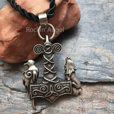 Antique Silver Plt Wolf Raven Hammer Pendant Necklace Unisex Gift Viking Norse