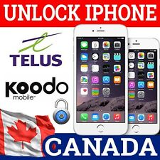 FACTORY UNLOCKING IPHONE 3GS 4 4S 5 5S 5C 6 6+ 6S 6S+ TELUS KOODO CANADA FAST