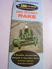 VINTAGE JOHN DEERE  ADVERTISING  BROCHURE- # 350  PTO HAY RAKE- 1956