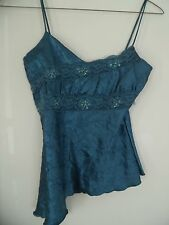 Pretty Teal Do & Be Lace Trim Sequined  Junior Tank Top / Cami, Sz L