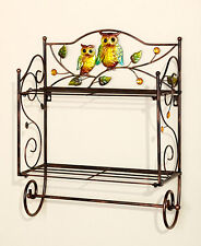 Bronze Whimsical Owl Friend Wall Shelf 2 Wires Perched Owls Birds Bath Shelf