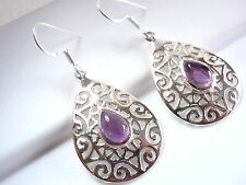 Amethyst Earrings Floral Accented Filigree 925 Sterling Silver Dangle Drop New