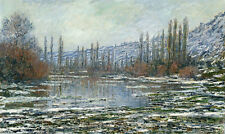 Art Oil painting Monet - Impression landscape Seine river thawed in early spring