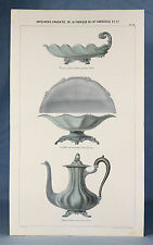 c1890, CHRISTOFLE paris, ORIGINAL art nouveau h/col litho, cafetière, SILVERWARE