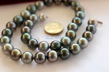 10-11mm natural tahitian peacock green pearl necklaces18inch
