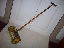 VINTAGE CHILD'S TOY LAWN MOWER WOOD & METAL
