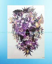 "US Seller- sugar skull death floral 8.25""extra large temporary arm tattoo art"
