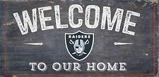 """Oakland Raiders Welcome to our Home Wood Sign - NEW 12"""" x 6""""  Decoration Gift"""