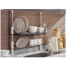 Stainless Fixing Pole 2 Tiers Dish Drying Rack Drainer Dryer Tray Cup Storage
