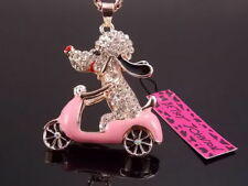 Free shipping! Betsey Johnson crystal locomotive dog Pendant Necklace # B237C