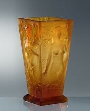 Glamorous French Art Deco Dancing Nudes Bohemian Amber Glass Vase
