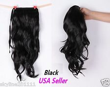Long Wavy Curly Ponytail Pony Hair Wig- Black - (USA Fast shipping)