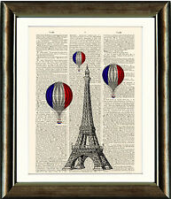 Antique Book page Art Print  The Eiffel Tower & Hot Air Balloons Paris Wall Art