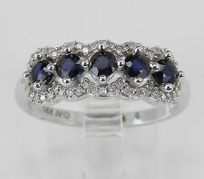 Diamond and Sapphire Wedding Ring Anniversary Band 14K White Gold Size 7