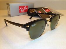 Ray Ban Clubmaster Sunglasses RB 3016 W0365 Black/Gold Frame Green Lens 51mm