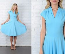 Vintage 70s Blue Mod Dress Full A Line V neckline Cap Sleeve Large L