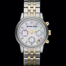 New Michael Kors MK5057 Ritz chronograph two tone gold silver women's watch +box