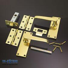 Messing Viktorianisch Tür Zapfenloch Griff Set mit Scharniere und Riegel 100x40