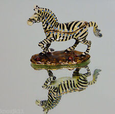 NEW Enameled Iron Rhinestone Jeweled Madagascar Marty ZEBRA TRINKET BOX Figurine