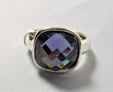 Ring Emerald Cut Blue Austrian Crystal Solitaire Pave Setting Size 7.5 NWT T32