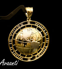 Real 10k Gold  Two Tone WORLD IS YOURS Globe Pendant Charm Piece