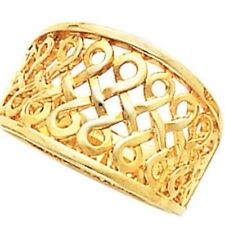 14K Gold Ring - Infinity Inspired 13mm Wide Woven Filigree Style Ring