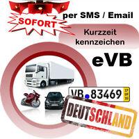 Kurzzeitkennzeichen 5-Tagesversicherung Alle KFZ für Deutschland Kurzkennzeichen