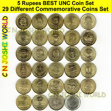 Very Rare 29 Different Types of 5 Rupees Commemorative Five Rupees UNC Coin Set