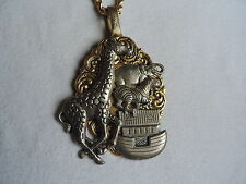 Vintage Jewelry Noah's Ark Handcrafted Pendant w/ Goldtone Chain (rr566)