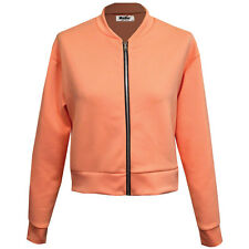 Womens Ladies Scuba Long Sleeve Zip Front Bomber Jacket