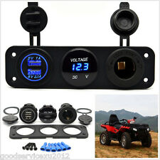 Blue LED Car 3 Hole Panel 2-USB Charger Cigarette Lighter Power Socket Voltmeter