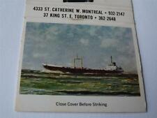 HALCO SHIP INLAND COASTAL WATERS TRANSPORTATION MONTREAL TORONTO MATCHBOOK