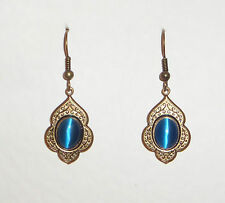 PERSIAN ART STYLE TURQUOISE GLASS DARK GOLD PLATED EARRINGS V 445 G