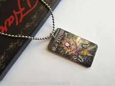 Genuine Authentic ED HARDY Stainless Steel MUlti Skull Snake Dog Tag Necklace