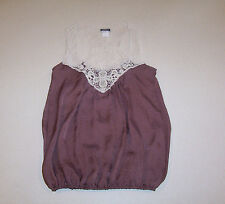 Women's Blue Asphalt Brown with Lace Inset Sleeveless Top X-Small