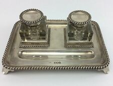 JOHN GRINSELL & SONS Antique 1900 GLASS SILVER INKWELLS w/ STERLING TRAY London